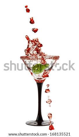 Martini Glass with a splash of Isolated on White Background - stock photo