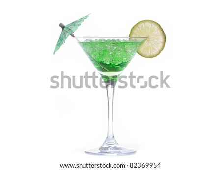 Martini glass with cocktail on white background - stock photo