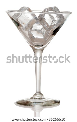 Martini glass with ice cubes