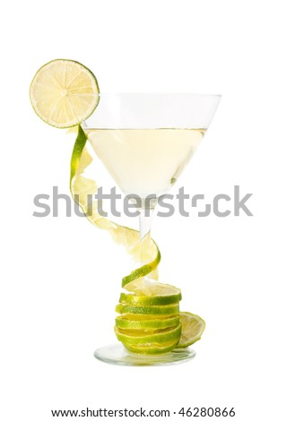 Martini glass with lime.