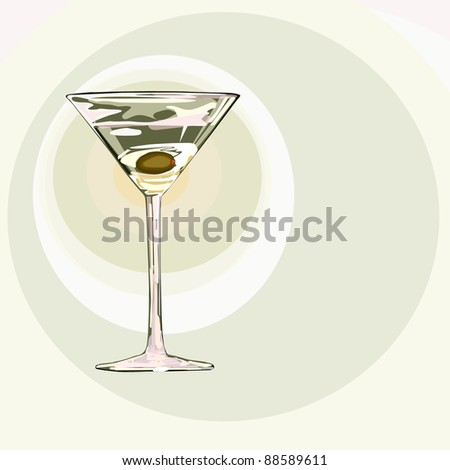 Martini glass with olive and soft heart band - stock photo