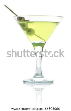 martini glass with olive isolated - stock photo