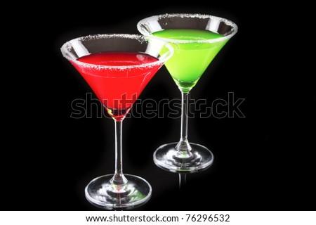 Martini glasses on black background - stock photo