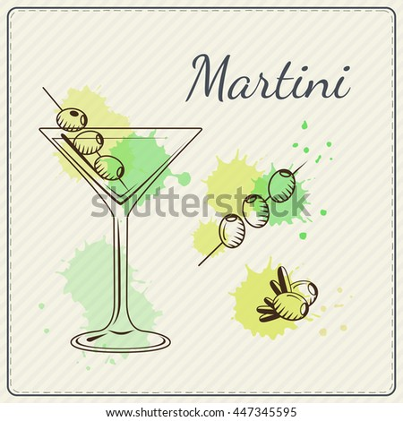 Martini. Hand drawn cocktail. Watercolor illustration