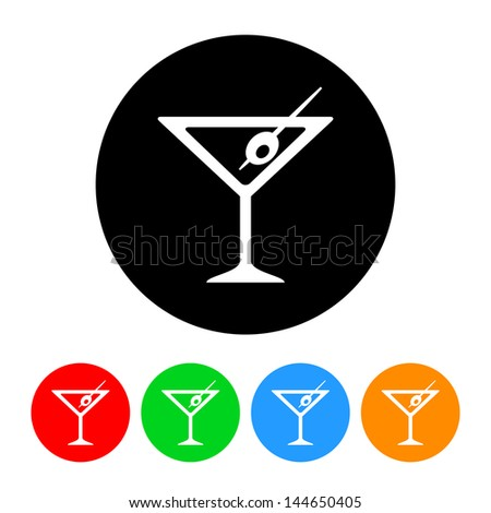 Martini Icon with Color Variations.  Raster version, vector also available. - stock photo
