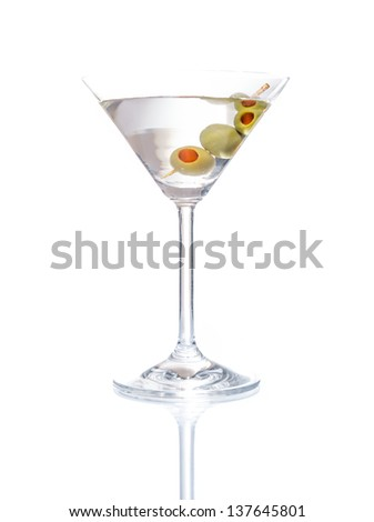 Martini mixed drink with olive, isolated on white background - stock photo