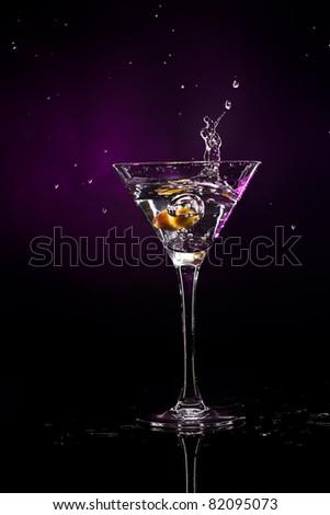 martini over dark background - stock photo