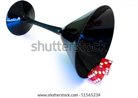 martini with dice - stock photo