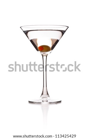 Martini with olive, includes clipping path. - stock photo