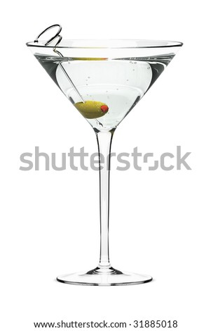 Martini with olive on fancy skewer, isolated on white. Includes pro clipping path.