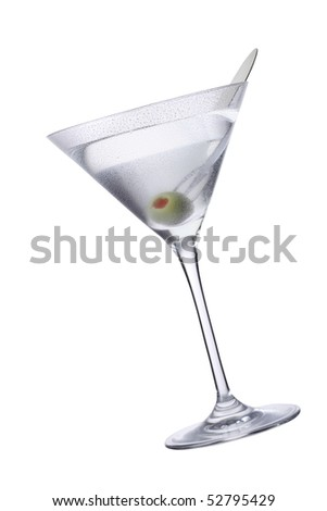 Martini with olive on skewer, isolated on white. - stock photo