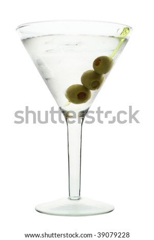 martini with olive, white background - stock photo