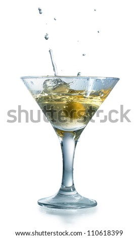 Martini with olives isolated on a white background