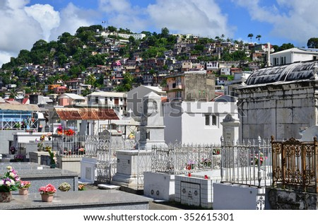 Martinique, the picturesque cemetery of Fort de France in West Indies