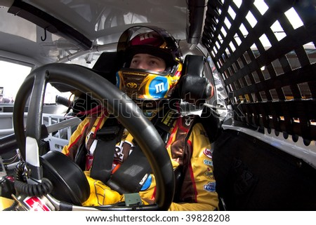 MARTINSVILLE, VA - OCTOBER 23 : Kyle Busch gets ready to practice for the running of the Tums Fast Relief 500 at Martinsville Speedway on October 23, 2009 in Martinsville, VA. - stock photo