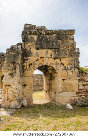 Martyrion of Saint Philip, ancient ruins in Hierapolis, Pamukkale, Turkey. UNESCO World Heritage - stock photo