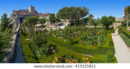 Marvao, Portugal - July 24, 2015: Marvao Castle located on top of a cliff with a view over the garden decorated with box-hedge. Marvao, Portalegre District, Alto Alentejo Region, Portugal. - stock photo