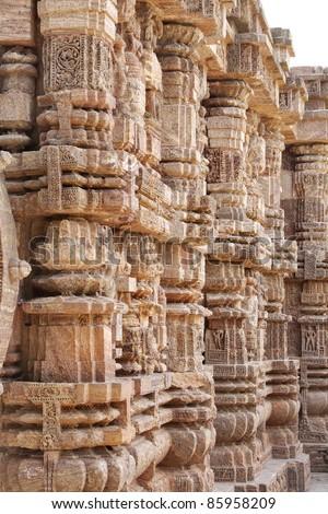 Marvellous look of the intricate carved pillars , Sun temple konark - stock photo