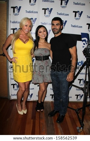"Mary Carey, Christine Nguyen and Ojani Noa on the set of ""Politically Naughty with Mary Carey,"" TradioV Studios, Los Angeles, CA 10-07-13"