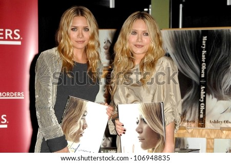 Mary-Kate Olsen and Ashley Olsen  at an in store appearance to sign copies of the new book 'Influence'. Borders Books and Music, Westwood, CA. 11-12-08 - stock photo