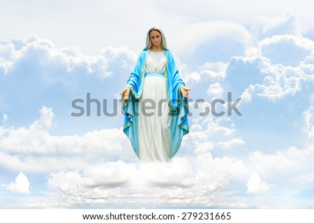 Mary on Cloud and sky - stock photo