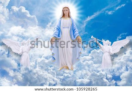 Mary on heaven - stock photo