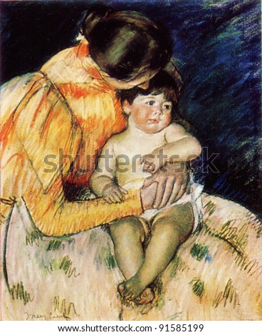 Mary Stevenson Cassatt (1845 - 1926) Mother and Child. 1890s. Pushkin Museum of Fine Arts. Reproduction of old postcards, USSR, circa 1983