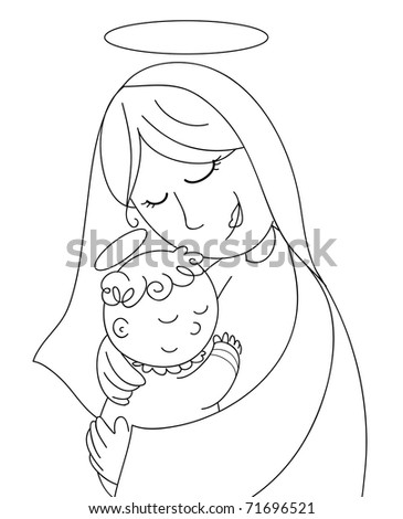 Mary with baby Jesus. A very cute coloring illustration for Christmas. - stock photo