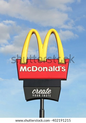 MARYBOROUGH, VICTORIA, AUSTRALIA - March 27, 2016: McDonald's (1955) is the world's largest chain of hamburger fast food restaurants serving around 63 million customers daily in 119 countries - stock photo