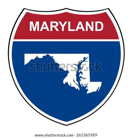 Maryland American interstate highway road shield isolated on a white background. - stock photo