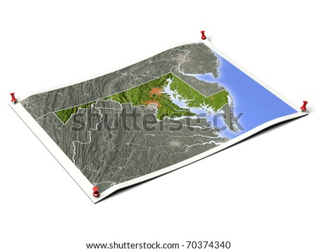 Maryland on unfolded map sheet with thumbtacks. Map colored according to vegetation, with borders and major urban areas. Includes clip path for the background.