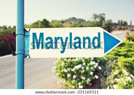 Maryland Road Sign with beautiful nature and road on background. United States of America - stock photo