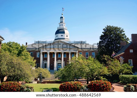 Maryland State Capital building in Annapolis, Maryland.