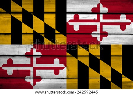 Maryland State Flag on wood background - stock photo