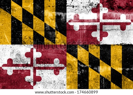 Maryland State Flag painted on grunge wall - stock photo