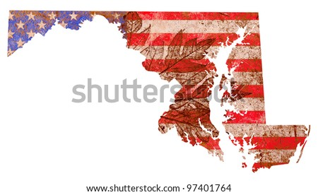 Maryland state of the United States of America in grunge flag pattern isolated on white background - stock photo