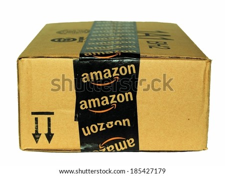MARYLAND, USA - APRIL 3, 2014:  Image of an Amazon package.  Amazon is an online company and is the largest retailer in the world. - stock photo
