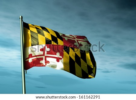 Maryland (USA) flag waving in the evening - stock photo
