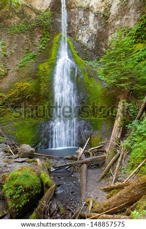 Marymere Falls in Olympic National Park - stock photo
