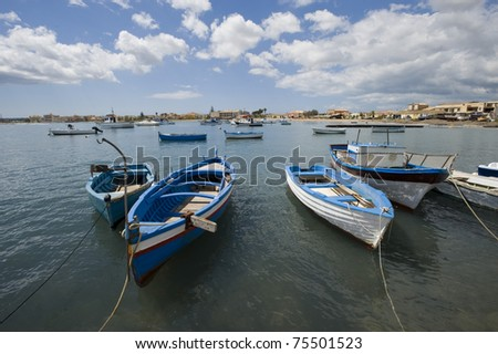 Marzamemi landscape with boats, Siracusa, Sicily, Italy