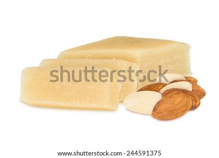 marzipan block with almonds - stock photo