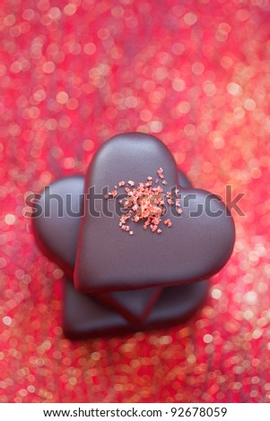 Marzipan chocolate hearts for Valentine's Day, selective focus - stock photo