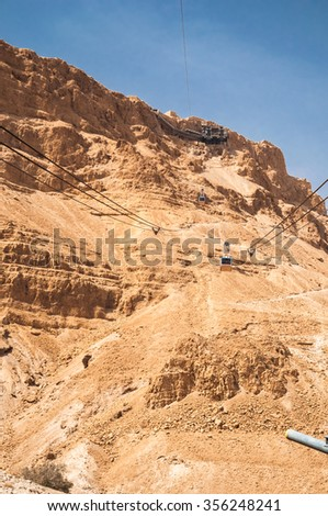 Masada - ancient fortress in the South of Israel, on the eastern edge of the Judean Desert overlooking the Dead Sea. After the First Jewish-Roman War,also known as the Great Jewish Revolt, a siege of - stock photo