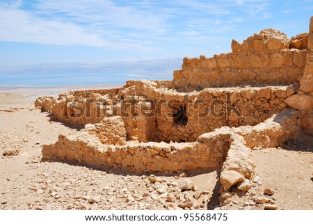 Masada - ancient  fortress in the South of Israel, on the eastern edge of the Judean Desert - stock photo