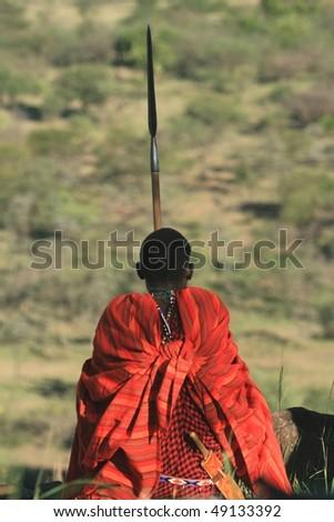 Masai warrior tribe in Kenya - stock photo