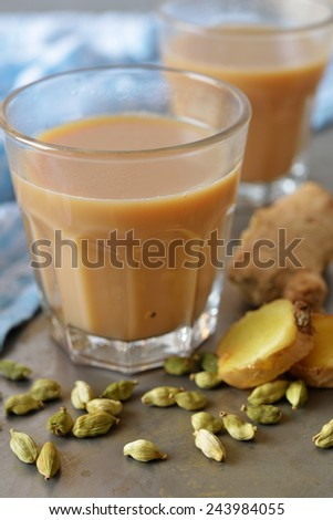 Masala chai tea and spices - stock photo