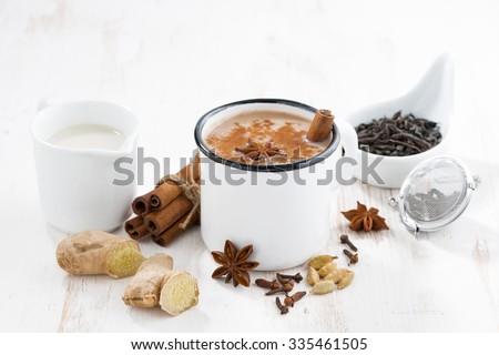 Masala tea and ingredients, horizontal - stock photo