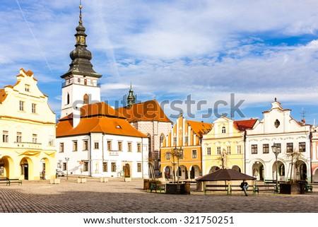 Masaryk Square, Pelhrimov, Czech Republic - stock photo