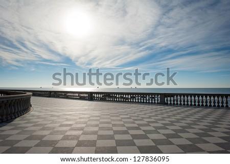 Mascagni terrace in front of the sea, Livorno. Tuscany, Italy. - stock photo