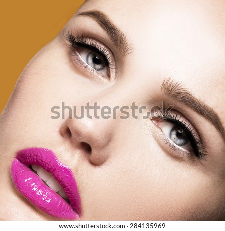 Mascara Applying. Long Lashes closeup. Mascara Brush. Eyelashes extensions. Makeup for Blue Eyes. Eye Make up Apply  - stock photo